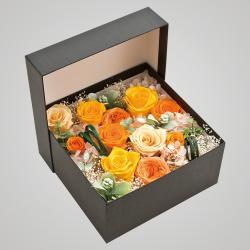 スタイル:華やか 色味:黄系 備考:BOX バラ・あじさい・かすみ草・フェイクグリーンのプリザーブドフラワーのイメージ。 10,000円