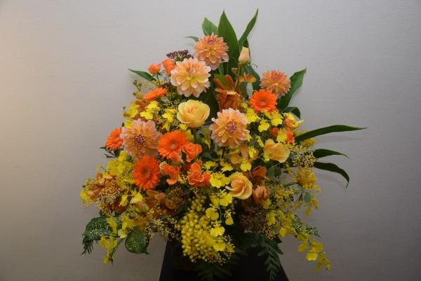 AR084華やかな黄色系アレンジ 黄色、オレンジ系